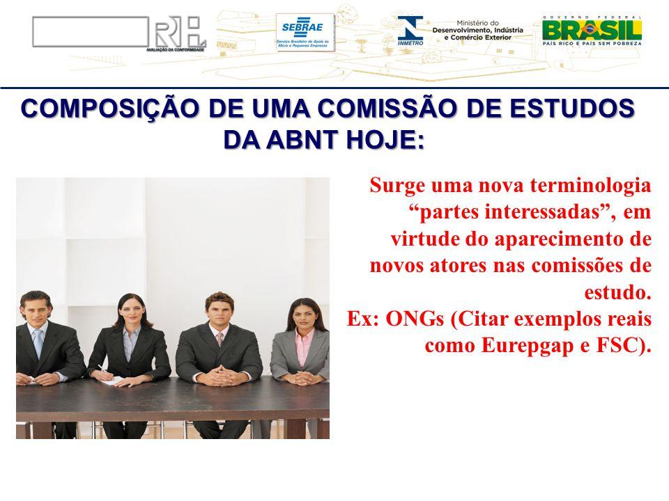 COMPOSIÇÃO DE UMA COMISSÃO DE ESTUDOS DA ABNT HOJE: