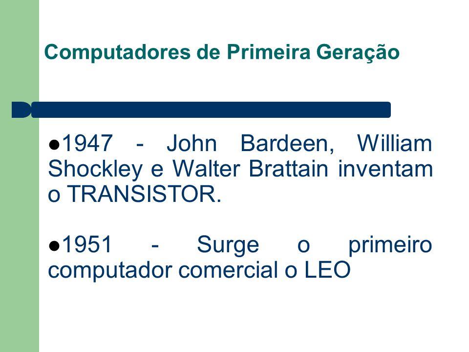 1951 - Surge o primeiro computador comercial o LEO