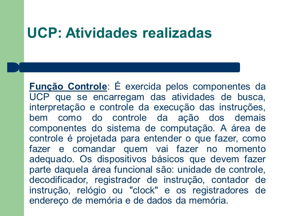 UCP: Atividades realizadas