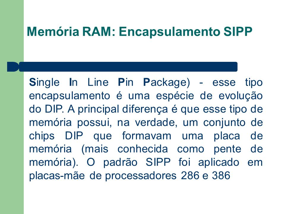 Memória RAM: Encapsulamento SIPP