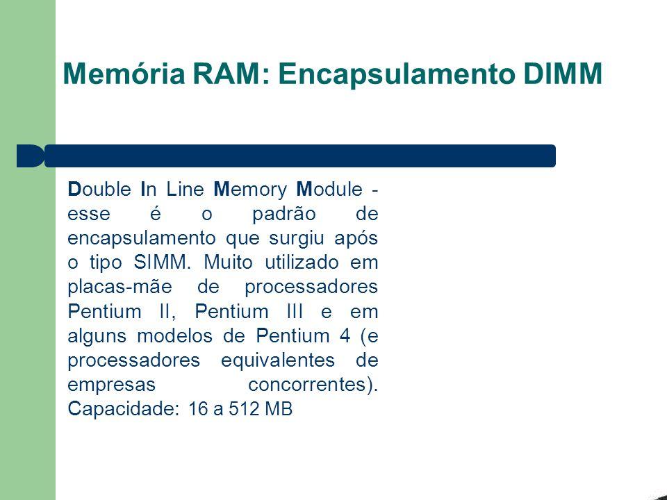 Memória RAM: Encapsulamento DIMM