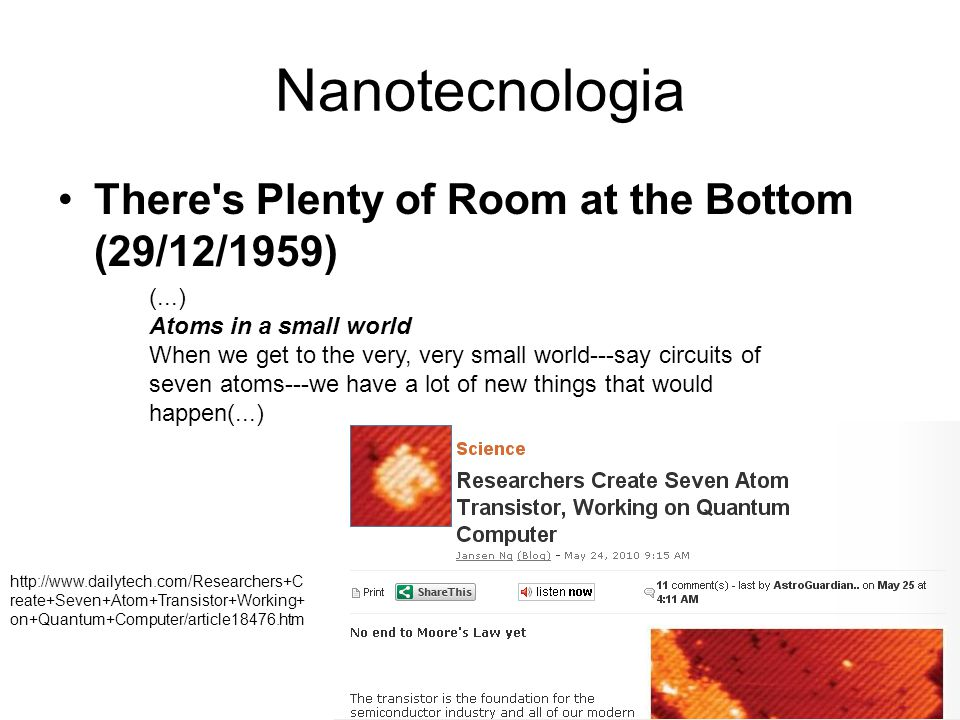 Nanotecnologia There s Plenty of Room at the Bottom (29/12/1959)