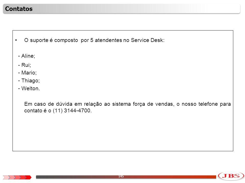 Contatos O suporte é composto por 5 atendentes no Service Desk: - Aline; - Rui; - Mario; - Thiago;