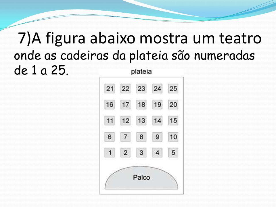 7)A figura abaixo mostra um teatro onde as cadeiras da plateia são numeradas de 1 a 25.