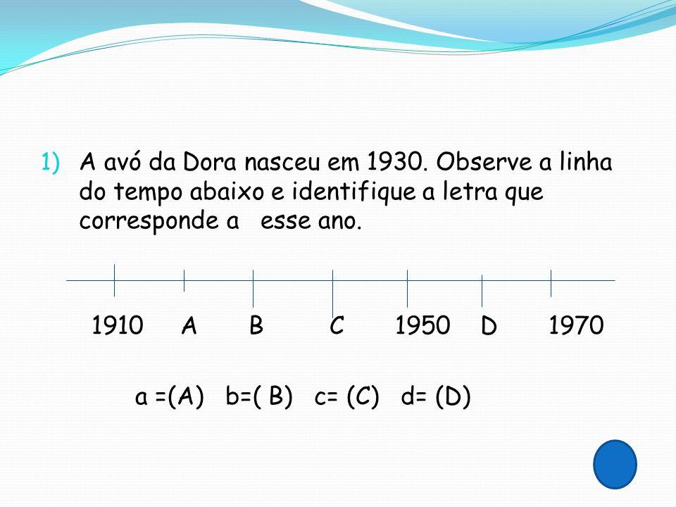 A avó da Dora nasceu em 1930. Observe a linha do tempo abaixo e identifique a letra que corresponde a esse ano.