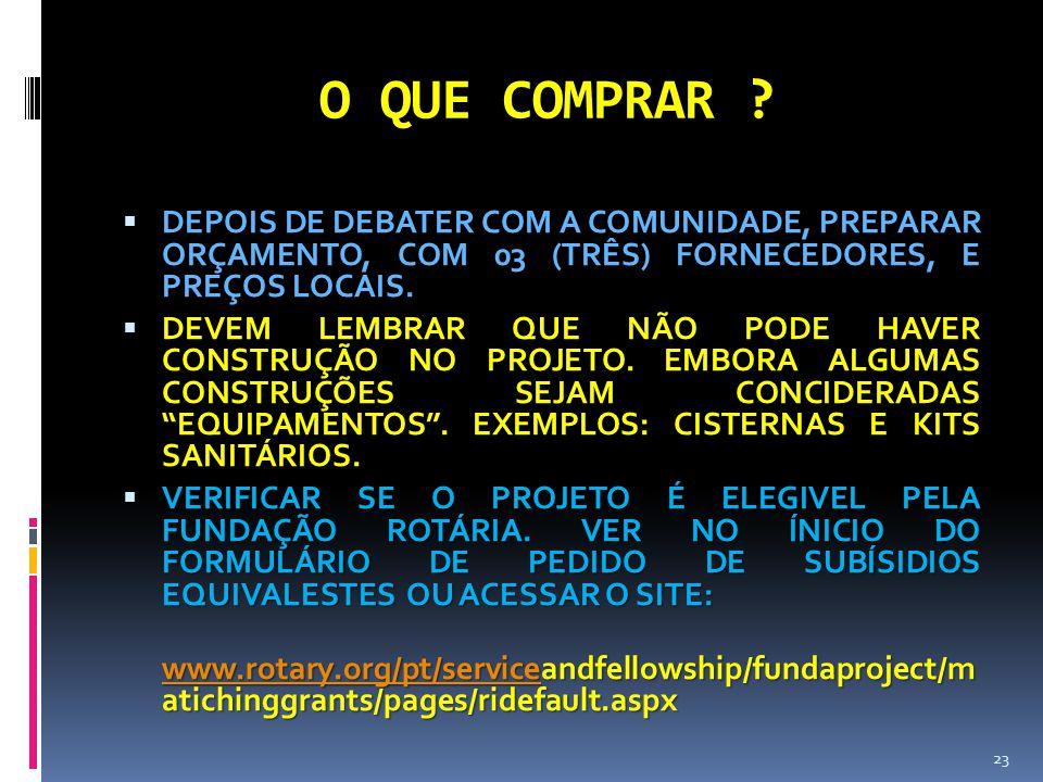 O QUE COMPRAR DEPOIS DE DEBATER COM A COMUNIDADE, PREPARAR ORÇAMENTO, COM 03 (TRÊS) FORNECEDORES, E PREÇOS LOCAIS.