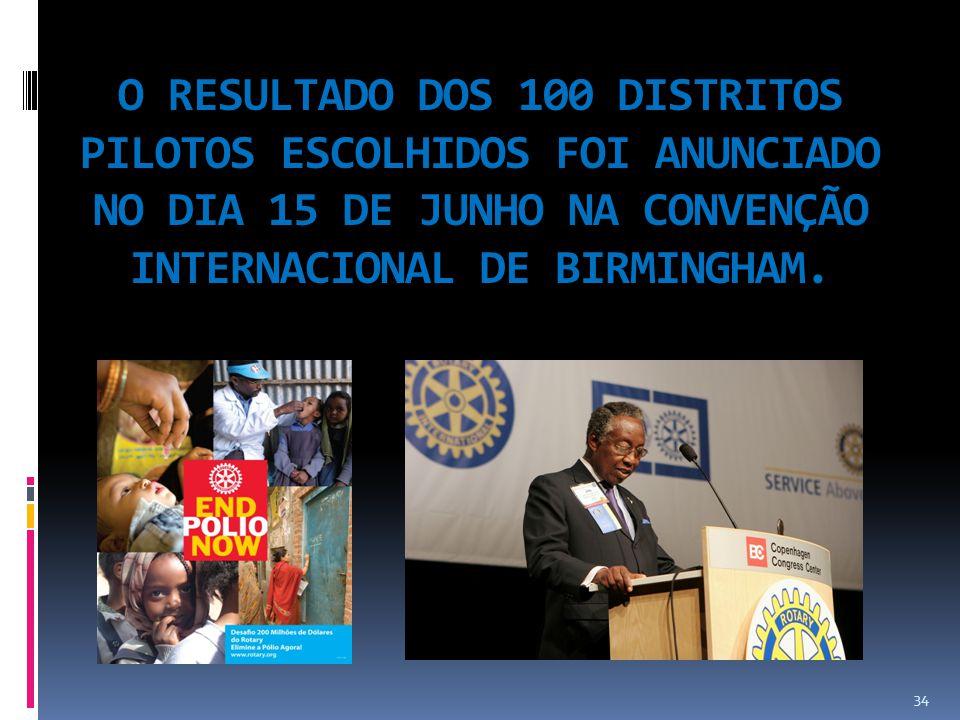O RESULTADO DOS 100 DISTRITOS PILOTOS ESCOLHIDOS FOI ANUNCIADO NO DIA 15 DE JUNHO NA CONVENÇÃO INTERNACIONAL DE BIRMINGHAM.