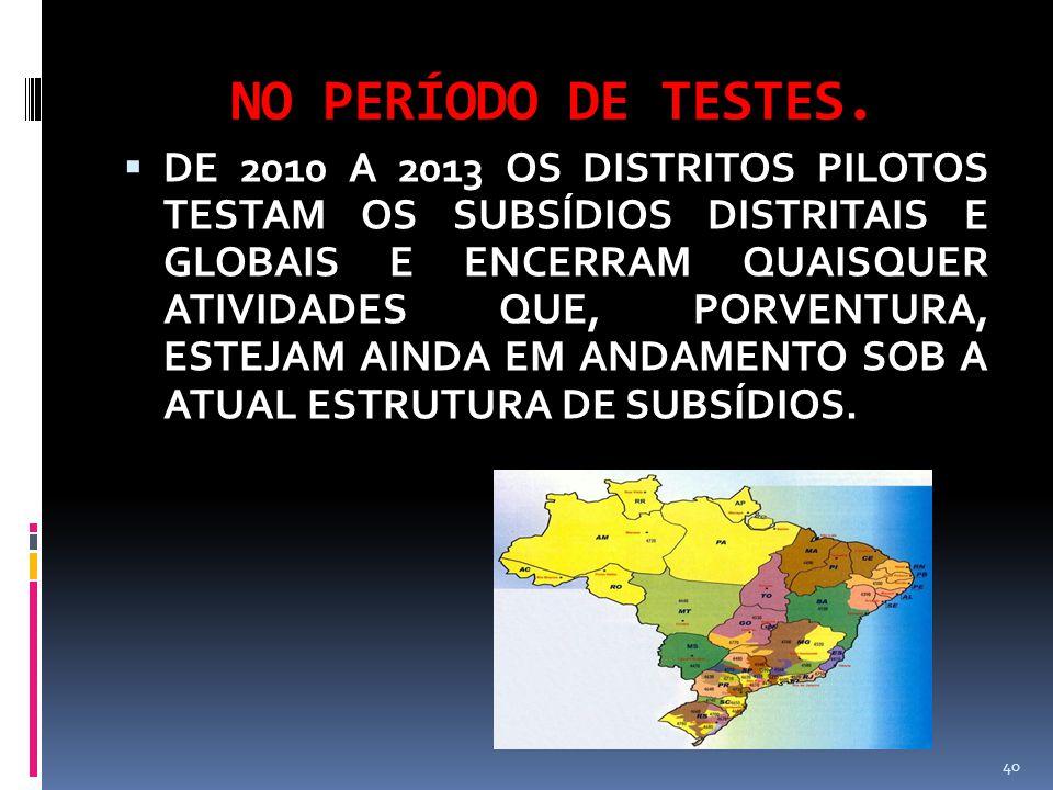 NO PERÍODO DE TESTES.