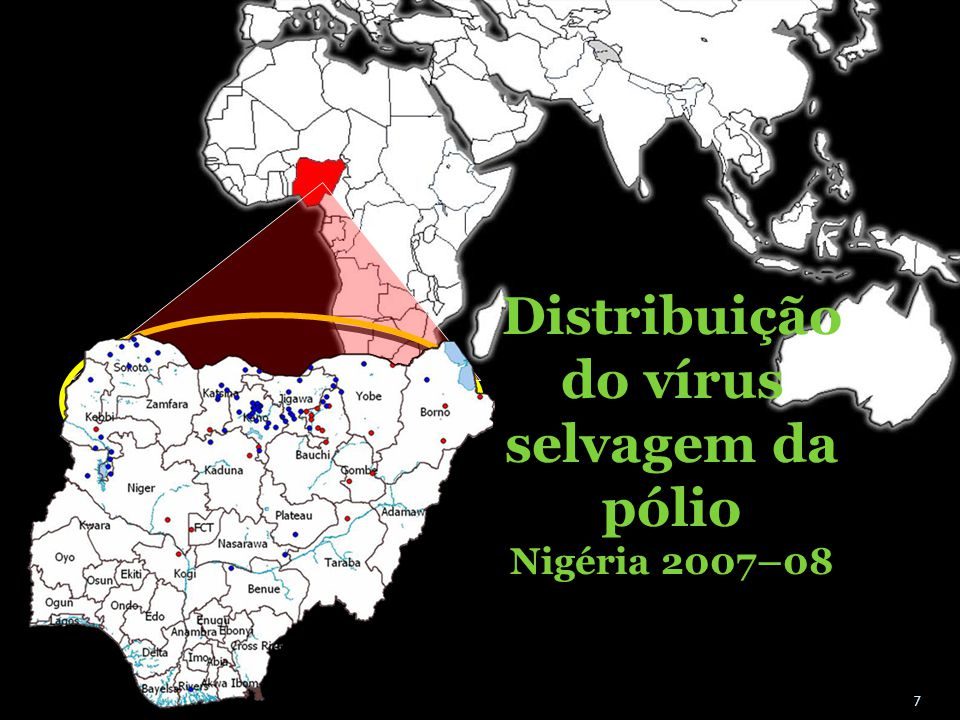 Distribuição do vírus selvagem da pólio Nigéria 2007–08