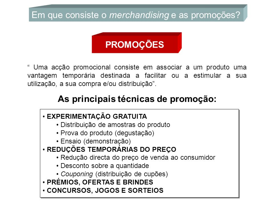 Em que consiste o merchandising e as promoções
