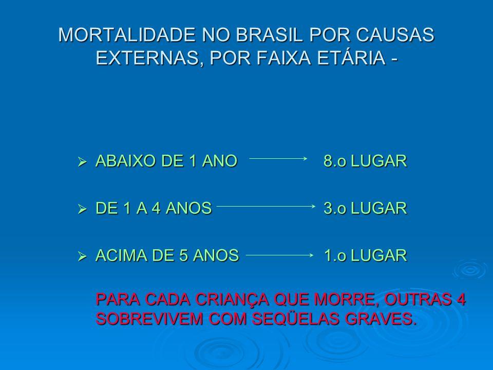 MORTALIDADE NO BRASIL POR CAUSAS EXTERNAS, POR FAIXA ETÁRIA -