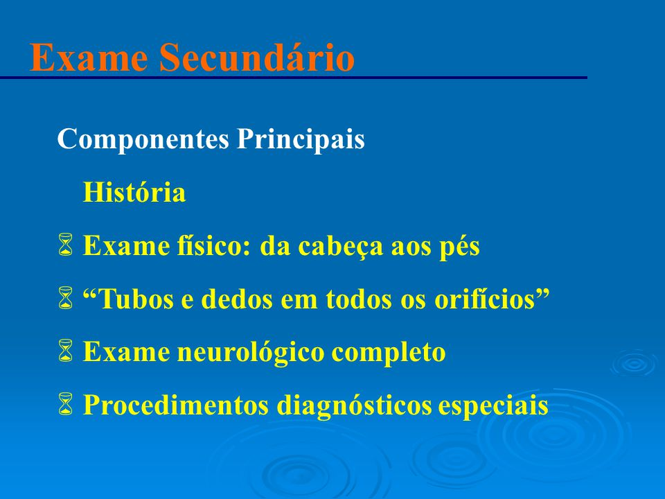 Exame Secundário Componentes Principais História