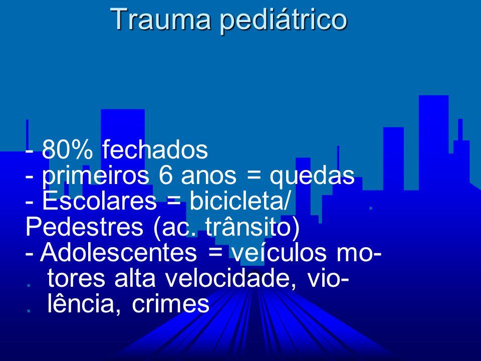 Trauma pediátrico - 80% fechados - primeiros 6 anos = quedas
