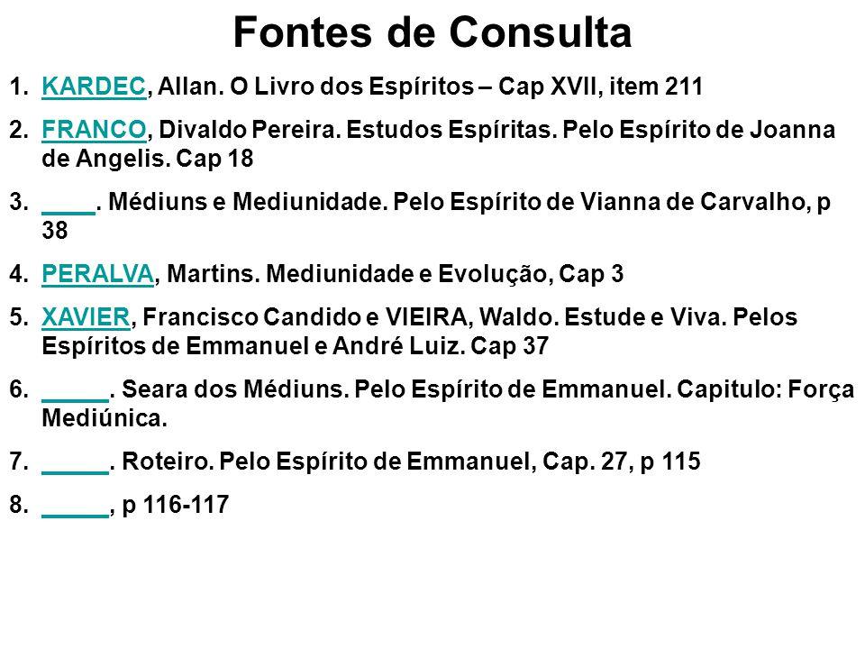 Fontes de Consulta KARDEC, Allan. O Livro dos Espíritos – Cap XVII, item 211.