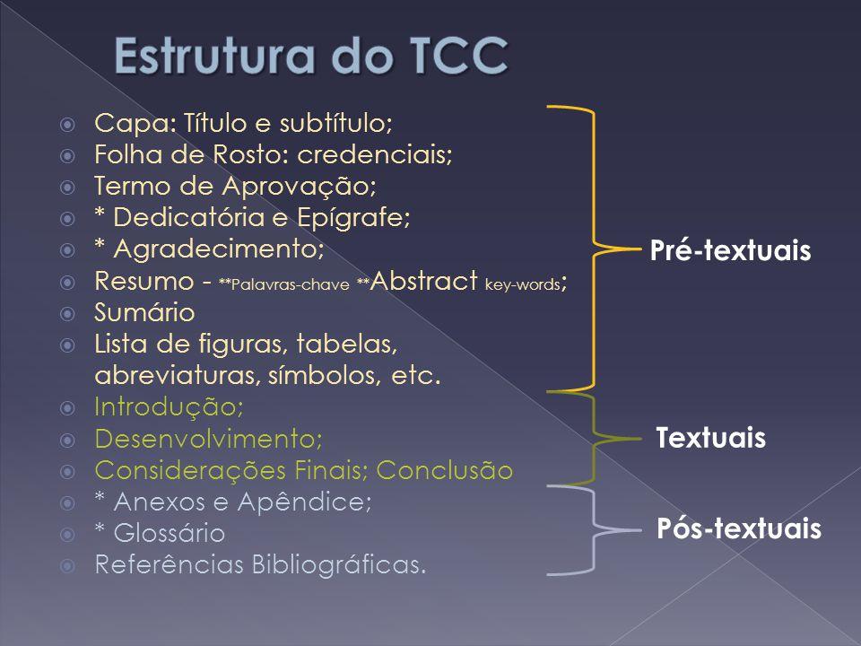 Estrutura do TCC Pré-textuais Textuais Pós-textuais