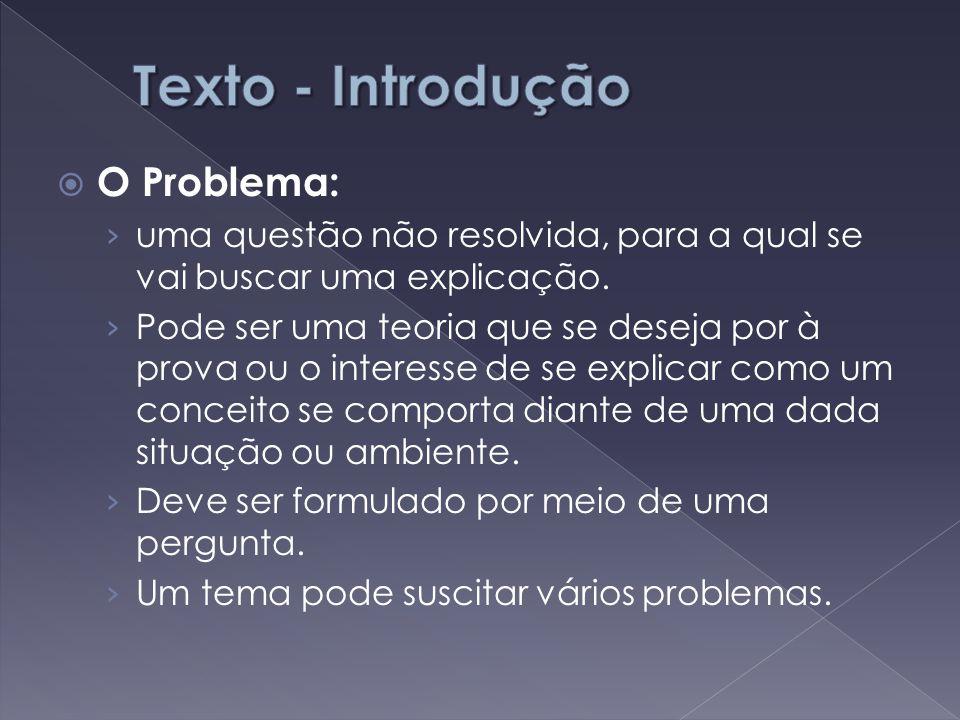 Texto - Introdução O Problema: