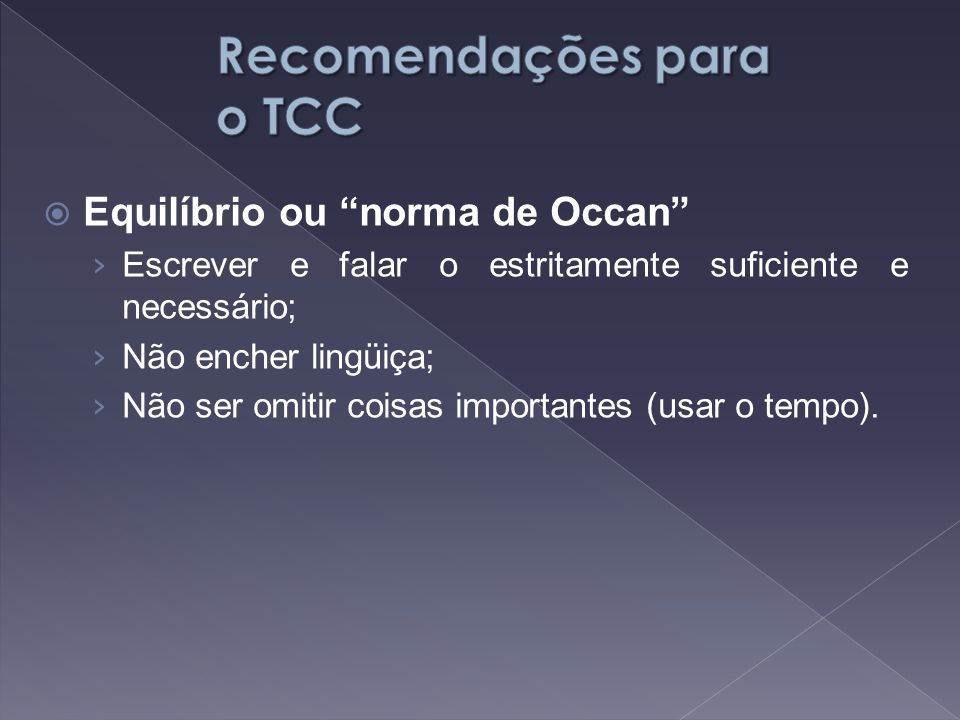 Recomendações para o TCC