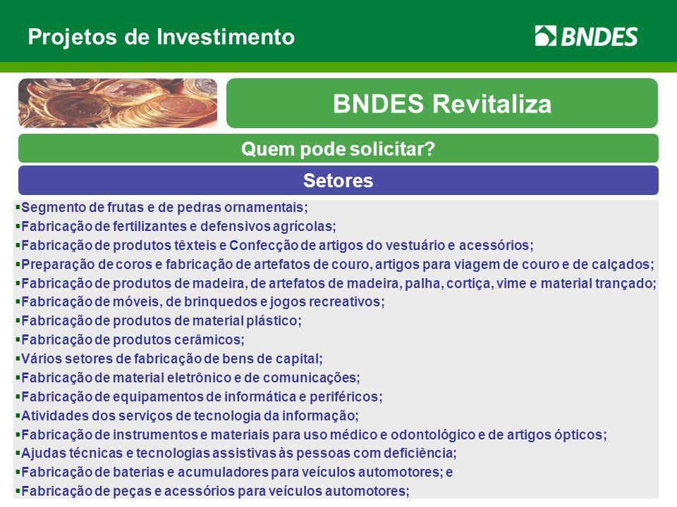 BNDES Revitaliza Projetos de Investimento Quem pode solicitar Setores
