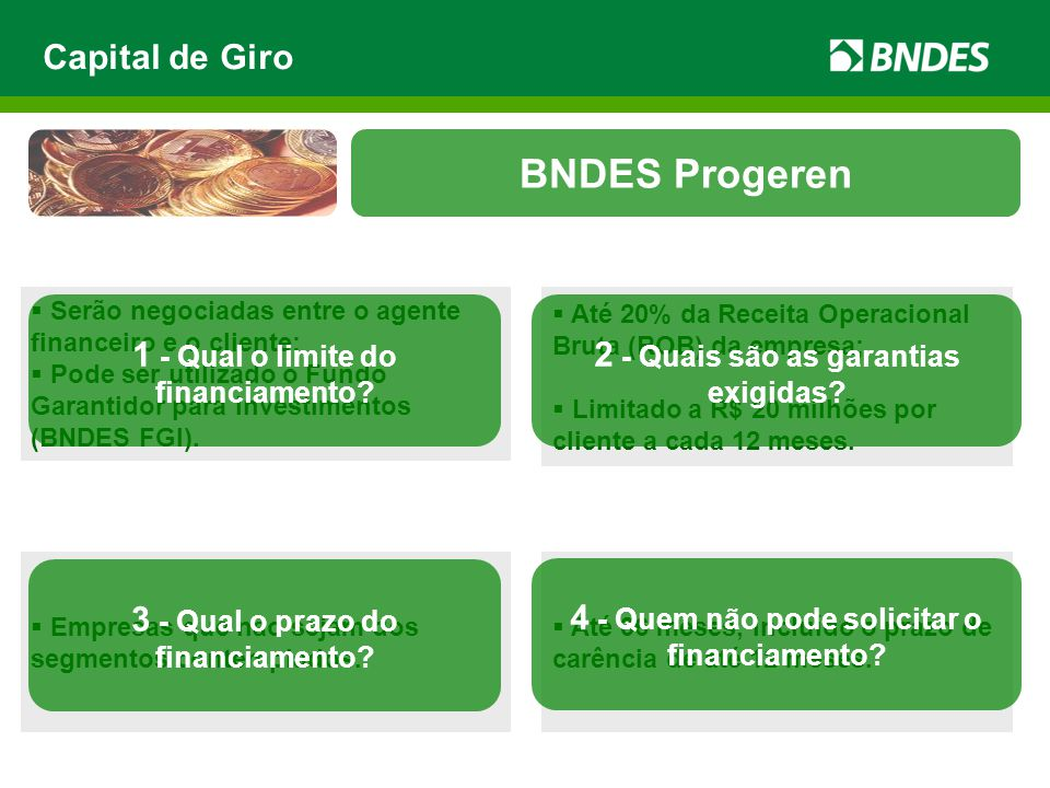 BNDES Progeren Capital de Giro 1 - Qual o limite do financiamento