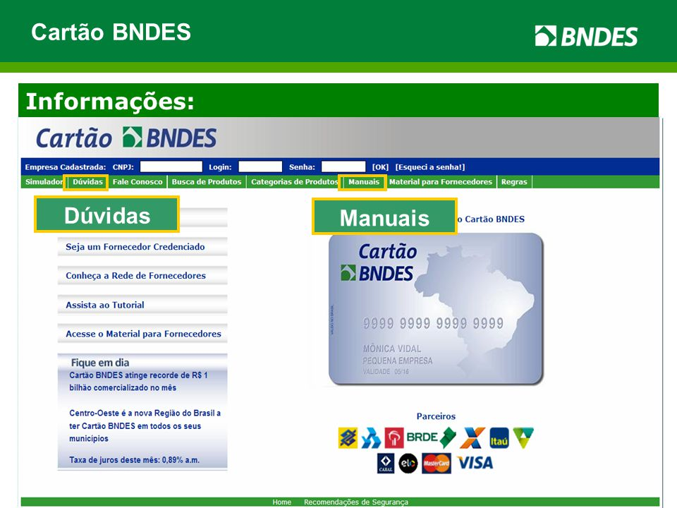 Cartão BNDES Informações: Dúvidas Manuais