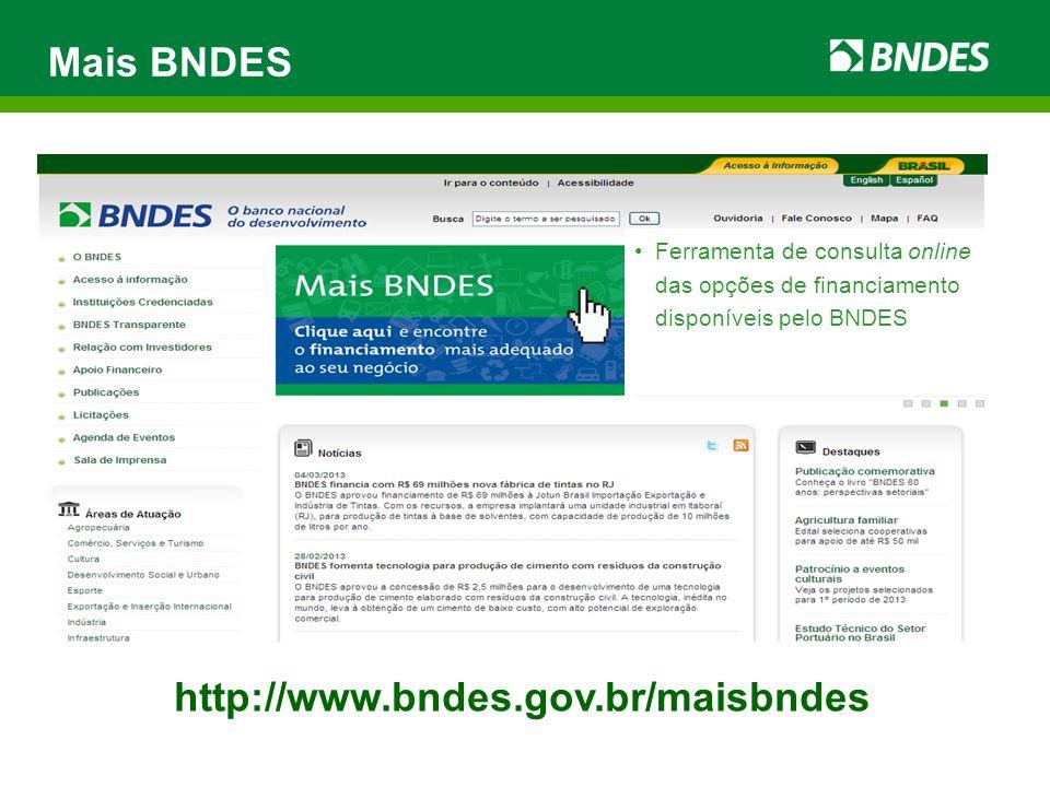 Mais BNDES http://www.bndes.gov.br/maisbndes