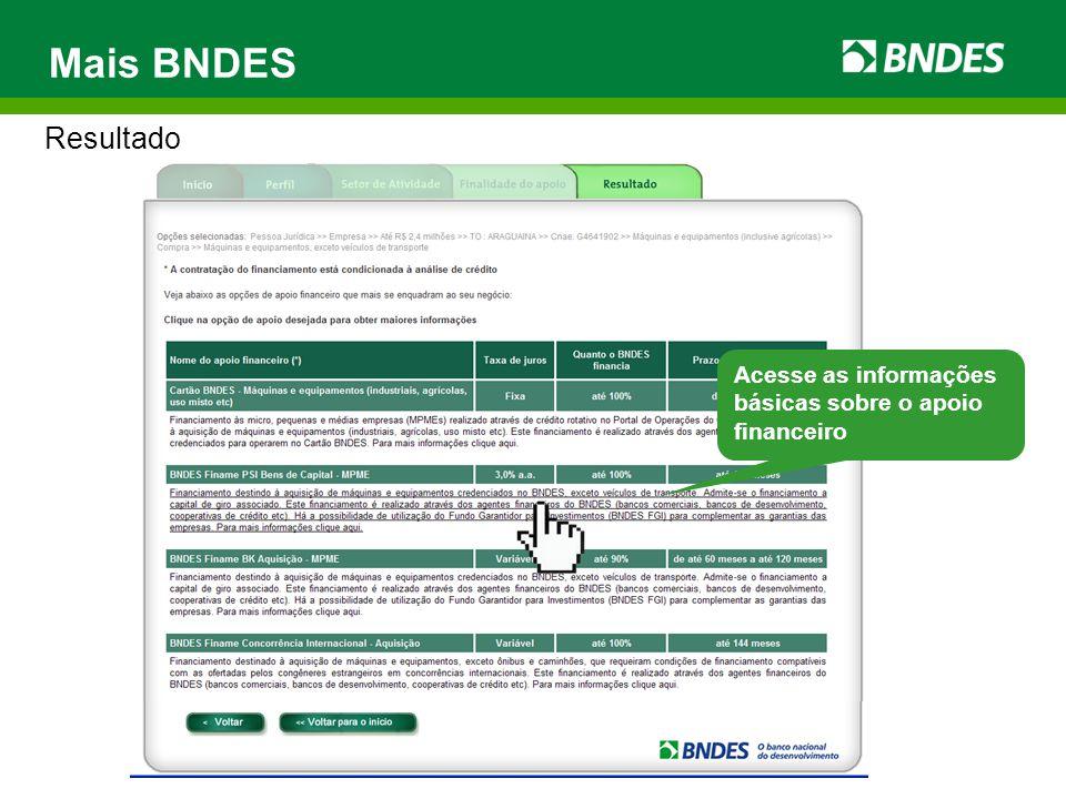 Mais BNDES Resultado Acesse as informações básicas sobre o apoio financeiro