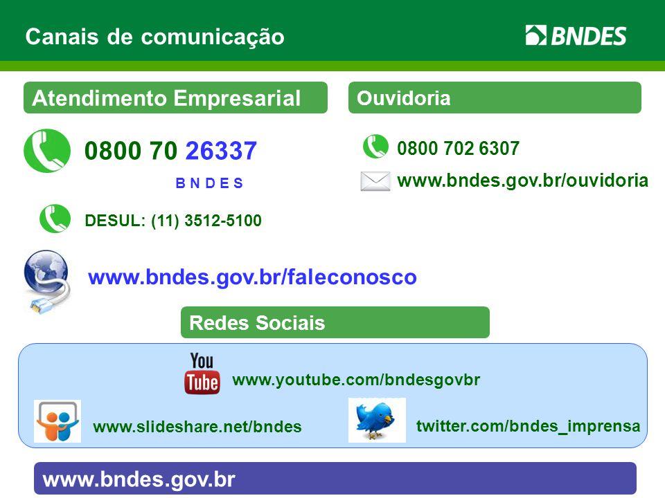 0800 70 26337 Canais de comunicação Atendimento Empresarial