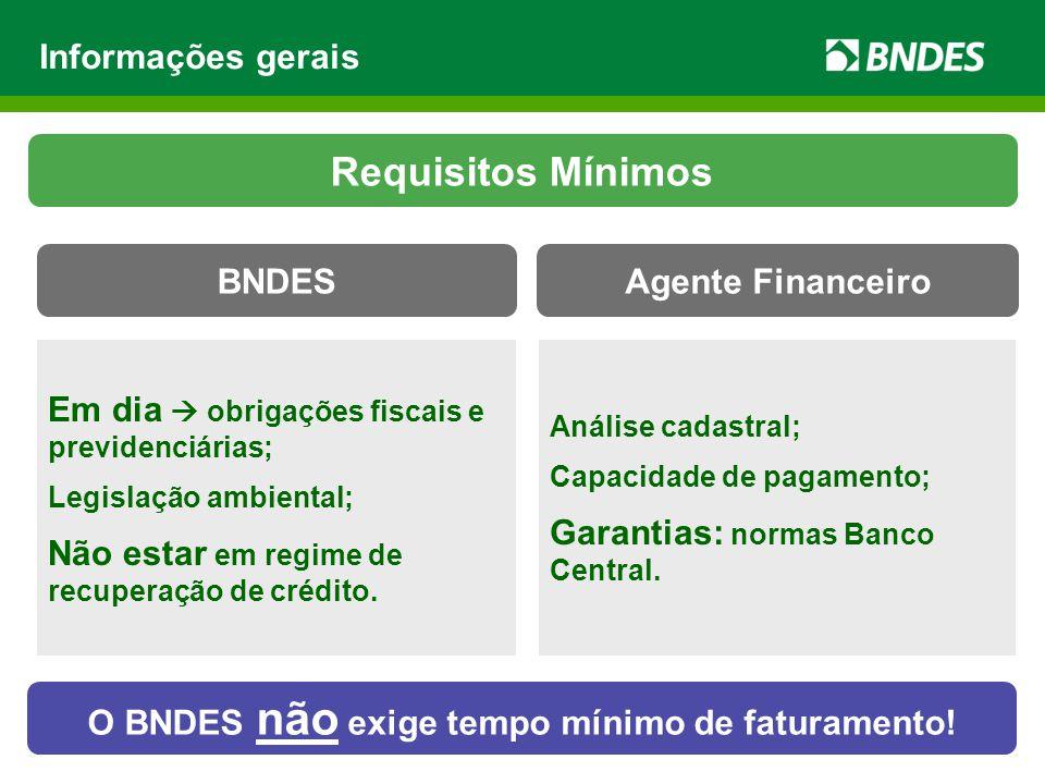 O BNDES não exige tempo mínimo de faturamento!