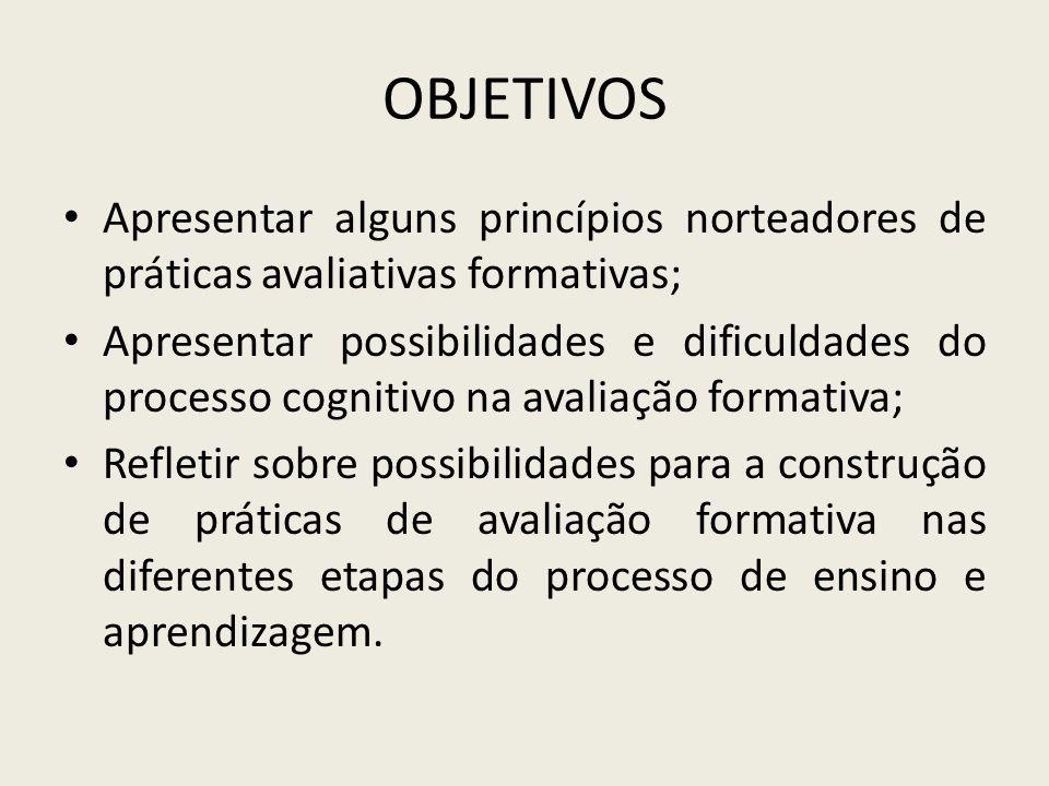 OBJETIVOS Apresentar alguns princípios norteadores de práticas avaliativas formativas;