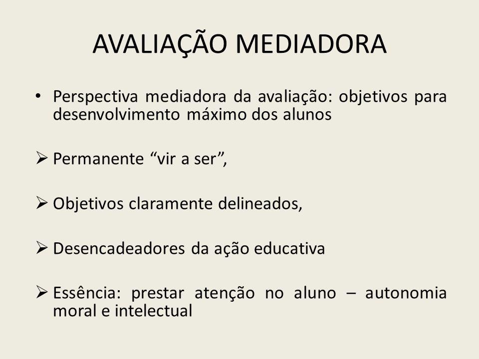 Avaliação Mediadora Perspectiva mediadora da avaliação: objetivos para desenvolvimento máximo dos alunos.