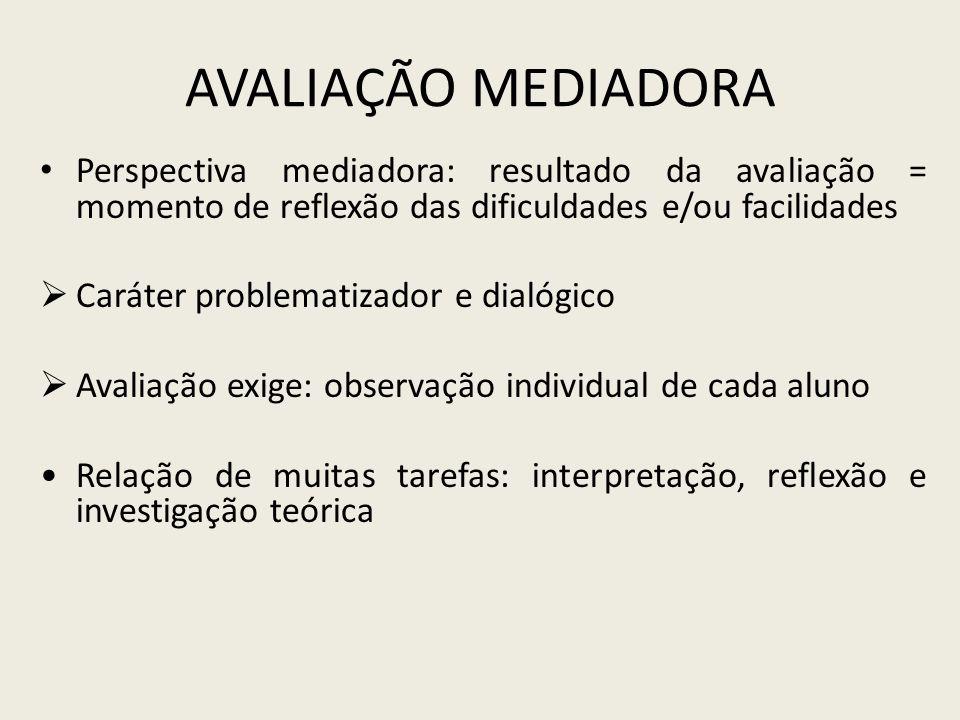 Avaliação Mediadora Perspectiva mediadora: resultado da avaliação = momento de reflexão das dificuldades e/ou facilidades.