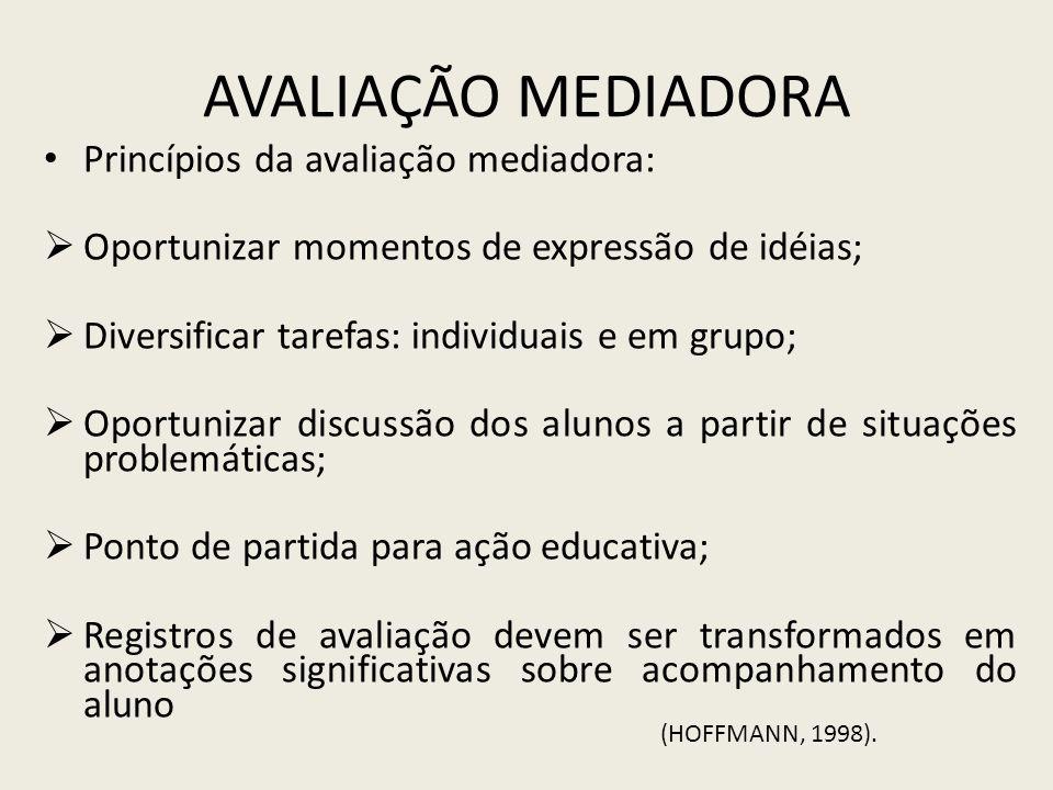 Avaliação Mediadora Princípios da avaliação mediadora: