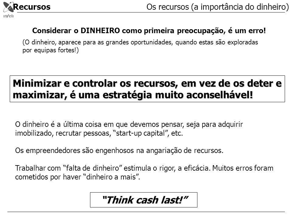 Recursos Os recursos (a importância do dinheiro) Considerar o DINHEIRO como primeira preocupação, é um erro!