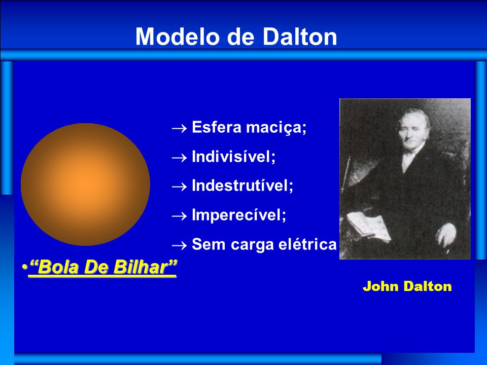 Modelo de Dalton Bola De Bilhar ® Esfera maciça; ® Indivisível;