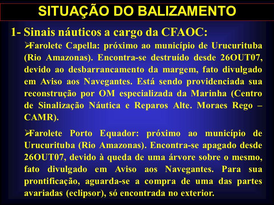 SITUAÇÃO DO BALIZAMENTO 1- Sinais náuticos a cargo da CFAOC: