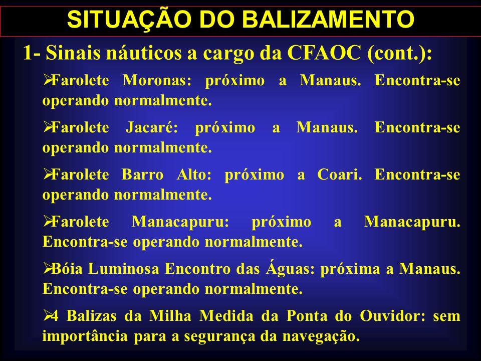 SITUAÇÃO DO BALIZAMENTO 1- Sinais náuticos a cargo da CFAOC (cont.):