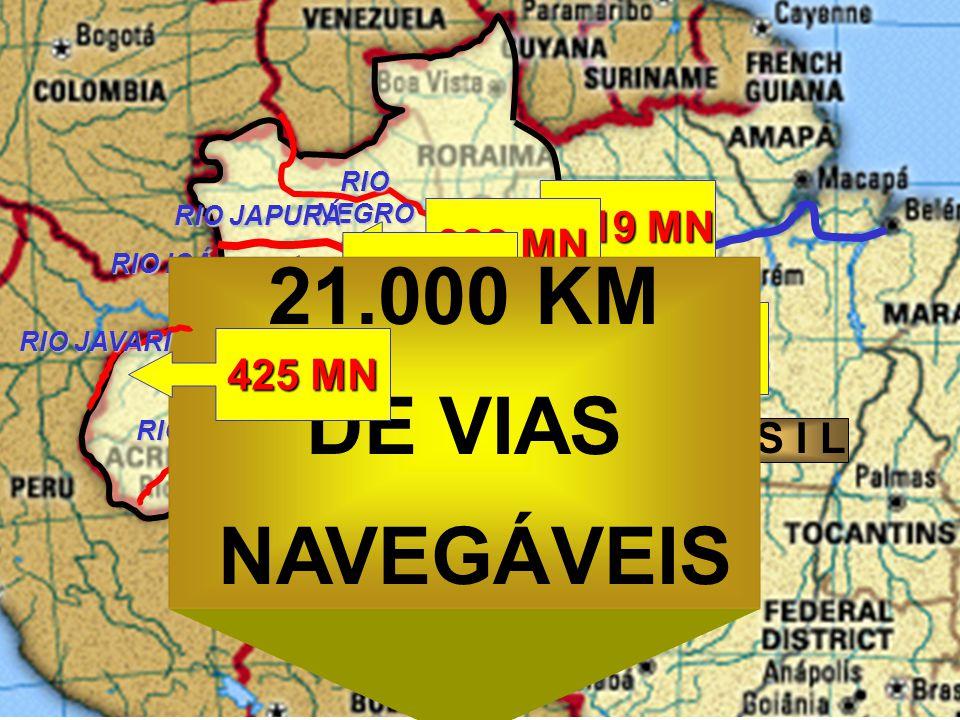 21.000 KM DE VIAS NAVEGÁVEIS 1319 MN 388 MN 178 MN 887 MN 425 MN