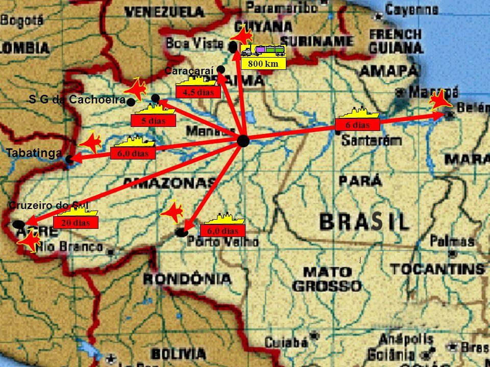 Tabatinga S G da Cachoeira Caracaraí Cruzeiro do Sul 800 km 4,5 dias