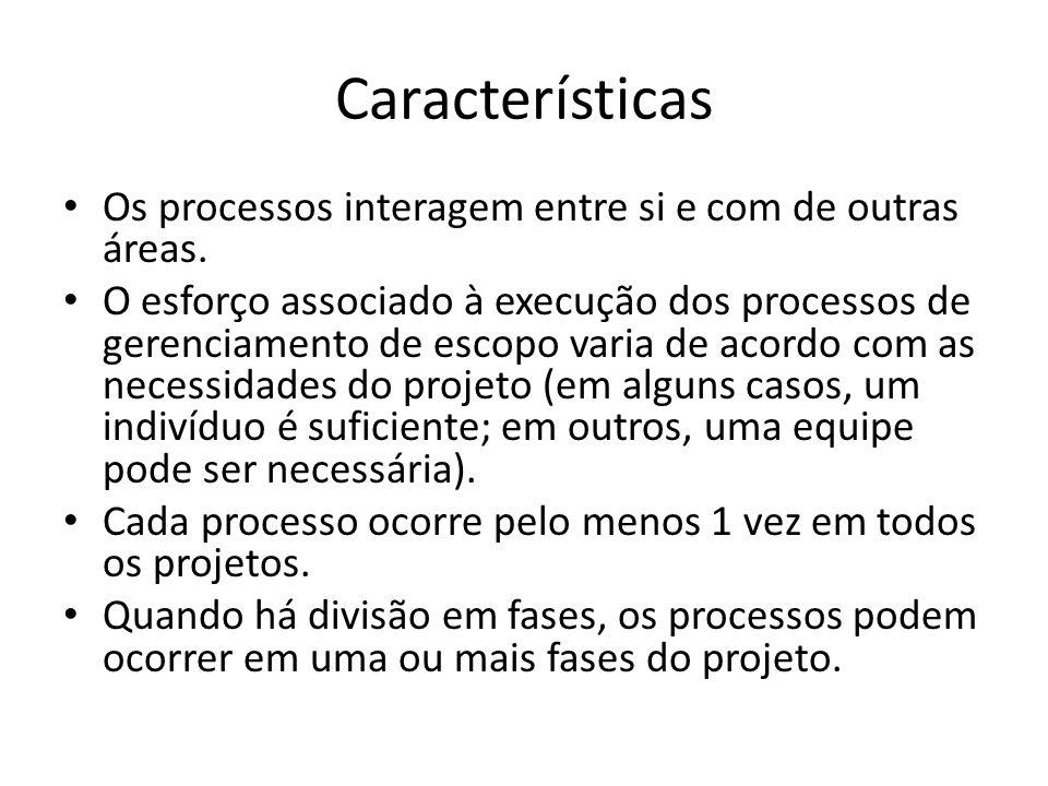 Características Os processos interagem entre si e com de outras áreas.