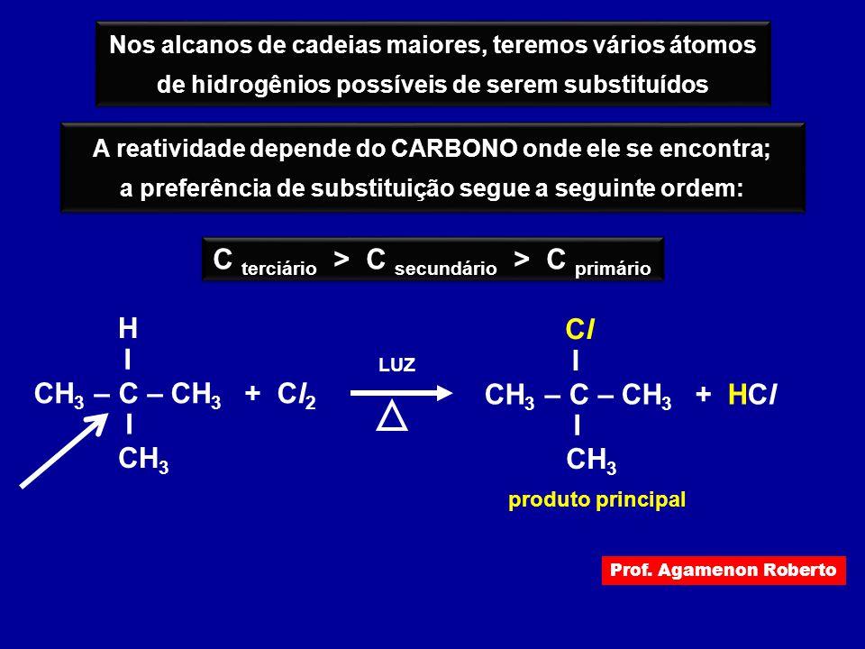 C terciário > C secundário > C primário