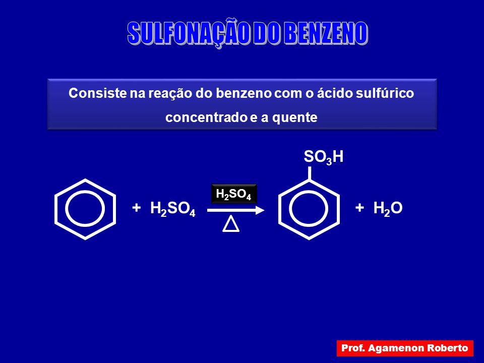 SULFONAÇÃO DO BENZENO + H2O SO3H + H2SO4