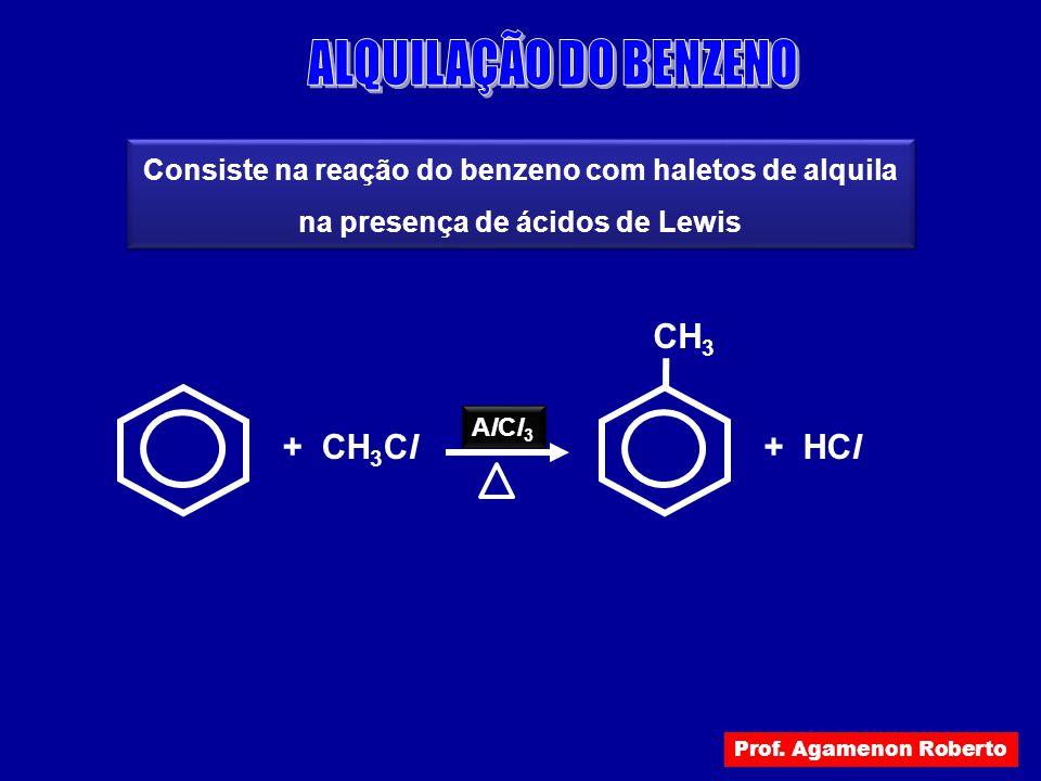 ALQUILAÇÃO DO BENZENO + HCl CH3 + CH3Cl