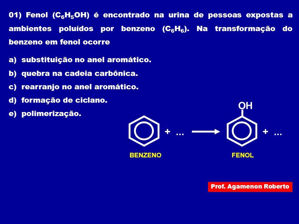 01) Fenol (C6H5OH) é encontrado na urina de pessoas expostas a ambientes poluídos por benzeno (C6H6). Na transformação do benzeno em fenol ocorre