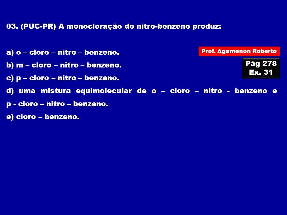 03. (PUC-PR) A monocloração do nitro-benzeno produz: