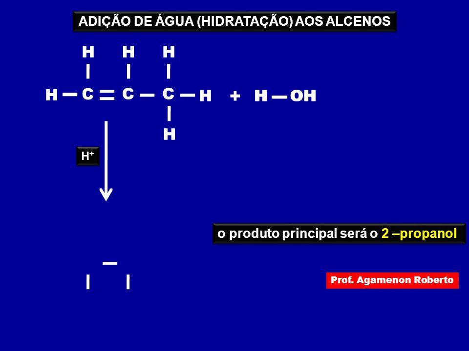 ADIÇÃO DE ÁGUA (HIDRATAÇÃO) AOS ALCENOS