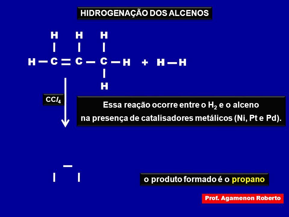 + H C H H H H C C C H H H H H H HIDROGENAÇÃO DOS ALCENOS