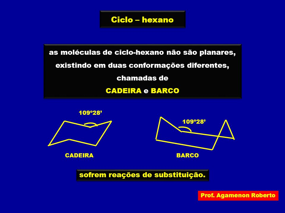 Ciclo – hexano as moléculas de ciclo-hexano não são planares,