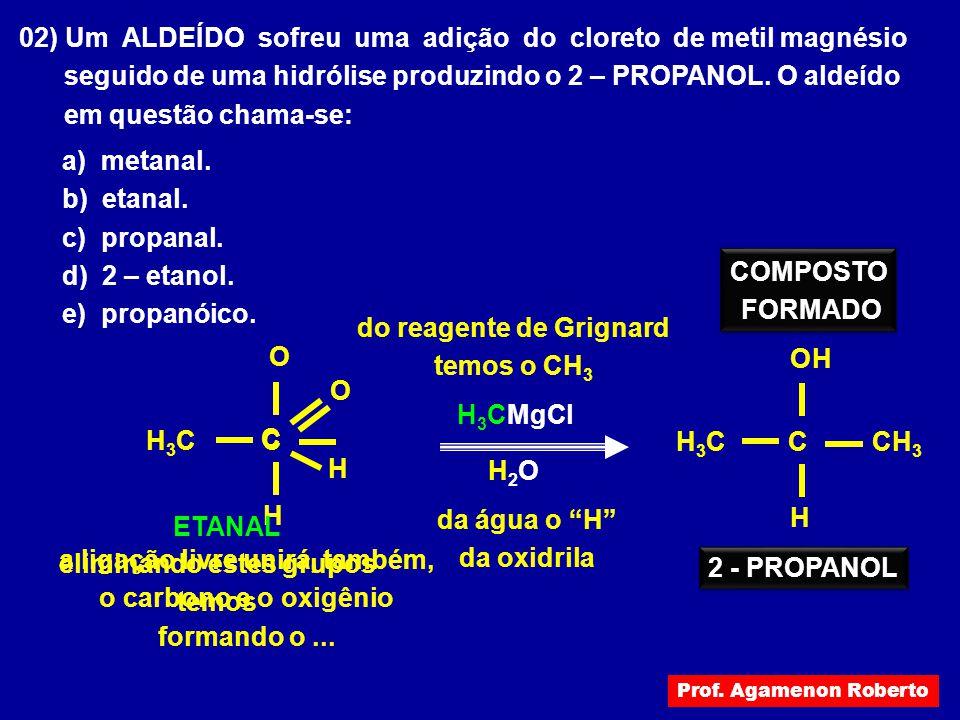 02) Um ALDEÍDO sofreu uma adição do cloreto de metil magnésio