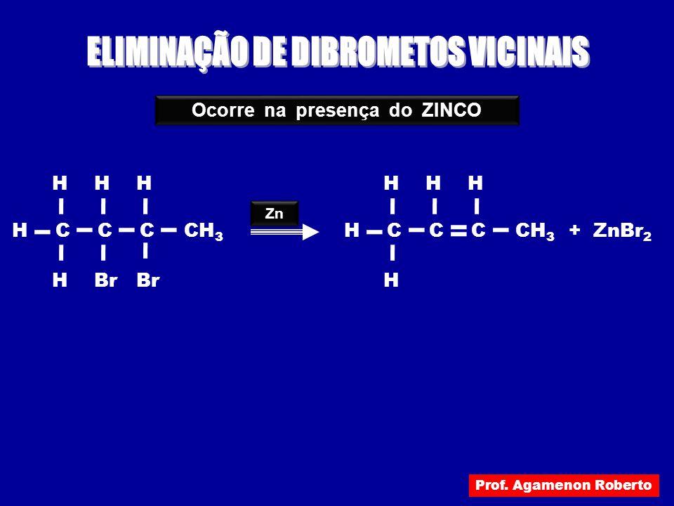 ELIMINAÇÃO DE DIBROMETOS VICINAIS Ocorre na presença do ZINCO