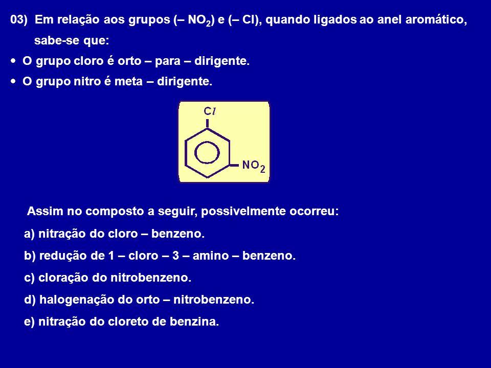 03) Em relação aos grupos (– NO2) e (– Cl), quando ligados ao anel aromático,